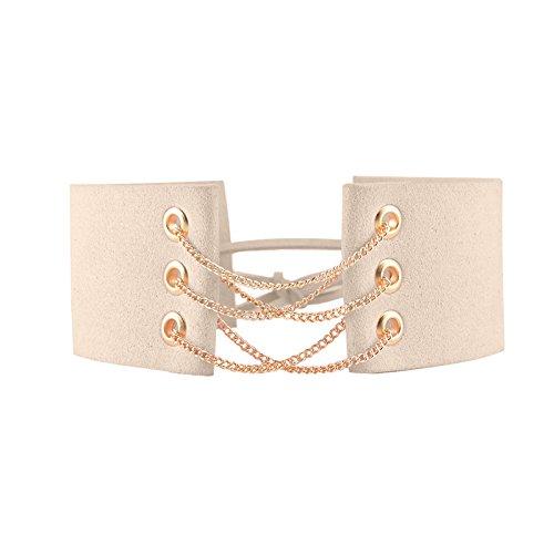 YAZILIND Frauen Charming Beige Idee Weit Flanell-Kragen-Halskette (Ideen Outfit Burlesque)