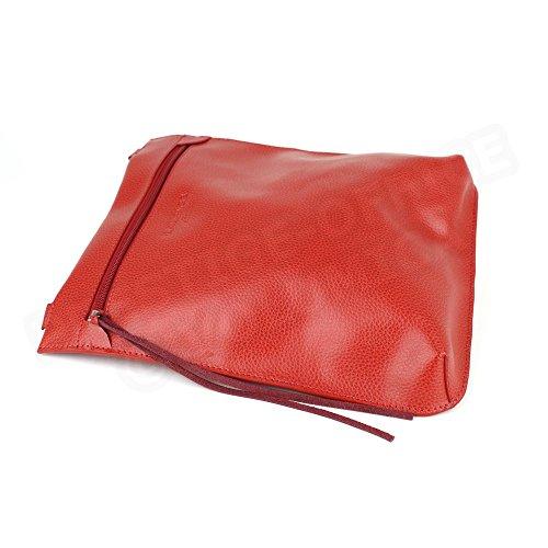 Besace modèle intermédiaire cuir Fabrication Luxe Française Rouge