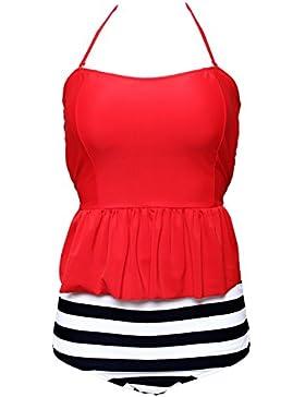 PU&PU Bikini di vestito da spiaggia delle donne due pezzi set costume da bagno in bianco e nero strisce alti reggiseno...