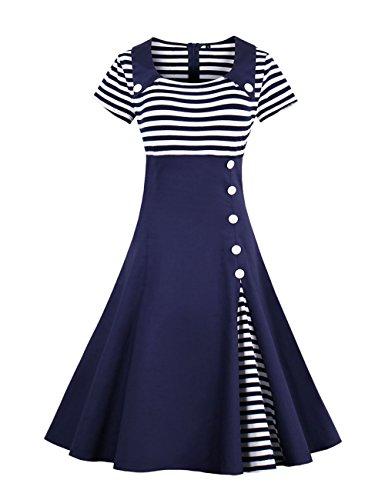 VKStar Retro Herbst Abendkleid/Cocktailkleid mit Streifen Vintage 50er Rockabilly Swing Audrey Hepburn Kleid mit 1/2 Ärmel