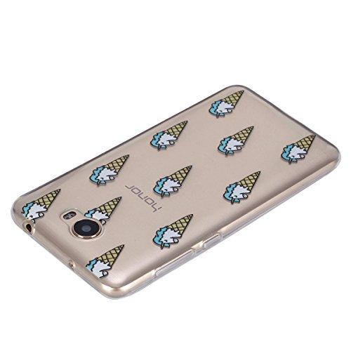 Ukayfe Custodia per Huawei Y5 II,Ultra Slim TPU Gel Gomma Silicone Copertura Case per Huawei Y5 II,Moda Serie Pattern Back Cover Crystal Skin Custodia Stilosa custodia di design Protettiva Shell Case  Gelato