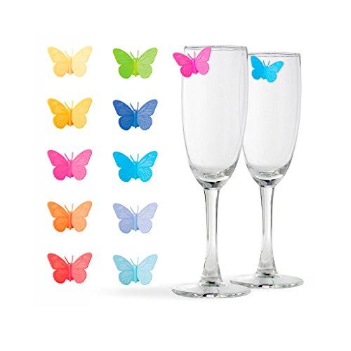 balvi Glasmarkierer Drink Wings, 10-teiliges Set, Glasmarkierer, ideal geeignet für Anlässe, Partys und Feiern Silikon