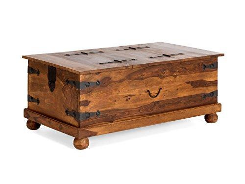 massivum Couchtisch-Truhe Merlin 110x45x60 cm aus massiven Palisander-Holz in braun gewachst mit 2 Klappen