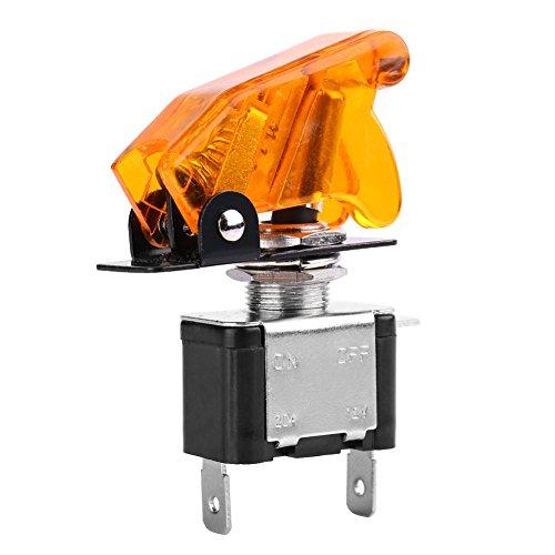Keenso 12 V 20A Auto LED Lichtschalter LED Licht SPST Kippschalter Wippschalter Steuerung SPST On/Off Offroad Racing Boost Zündungen Fans Schalter(gelbe LED + gelbe Farbe) -