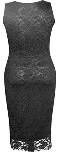 neuen Frauen Bodycon Plus Size Lace Midikleid Blumenspitze Kleid 36-50 Black