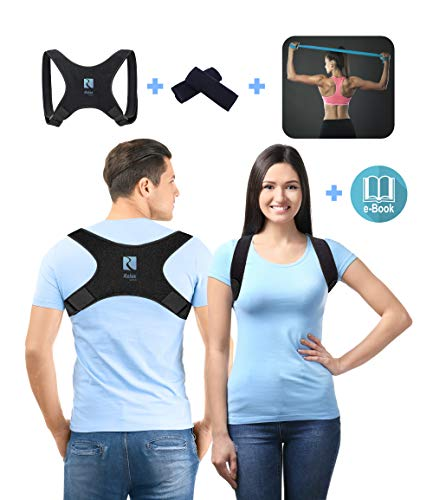 RelaxWays Haltungstrainer, Geradehalter zur Haltungskorrektur, Rückenbandage Rückenstütze für Damen, Herren und Kinder mit Schulterpolster + Fitnessband, gegen Nacken, Rücken und Schulterschmerzen