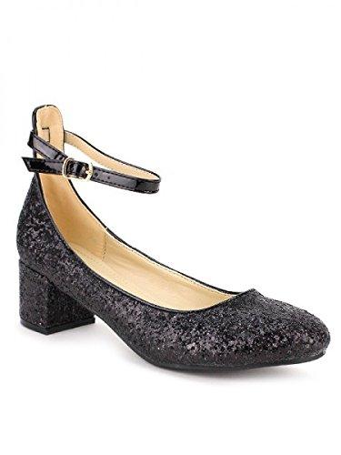 Cendriyon, Ballerine Pailletée COCO PERLA Chaussures Femme Noir