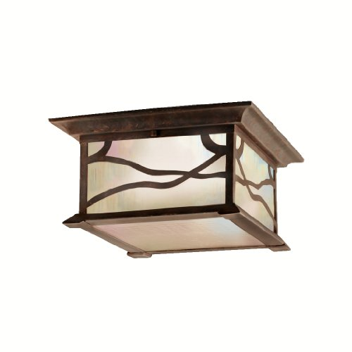 Kichler Lighting 9838DCO Morris 2-Light Flush Mount Outdoor Ceiling Light, Distressed Copper Finish with Inside-Etched Iridized Seedy Glass by Kichler Lighting