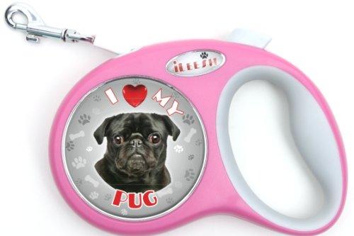 iLeesh i Love My Mops Hundeleine, einziehbar, Pink -