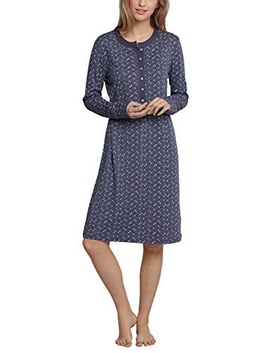 Schiesser Damen Sleepshirt 1/1 Arm Nachthemd, Blau (Blaugrau 808), 38