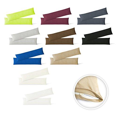 Kissenbezug Stillkissenhülle Seitenschläferkissenbezug 2er Set Sparpack Kissenhüllen mit Reißverschluss in 10 Farben hochwertige Jersey Qualität 150g/m² 100% Baumwolle ÖKO-TEX 40x145 cm sand