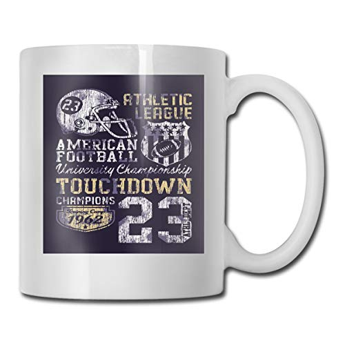 Funny Ceramic Novelty Coffee Mug 11oz,Retro Style American Football College Theme Illustration Athletic Championship Apparel,Unisex Who Tea Mugs Coffee Cups,Suitable for Office And Home