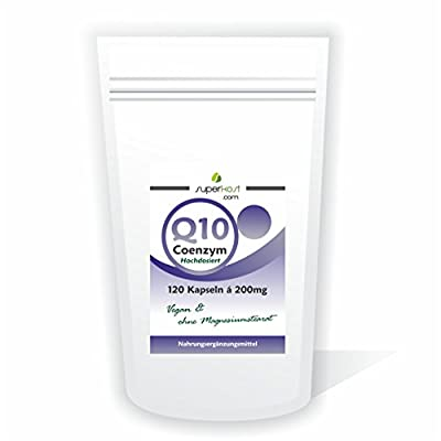 Coenzyme Q10120Capsules x 200mg High Dose No Magnesium Stearate-Clear Jacket (Vegetarian) from Superkost GmbH