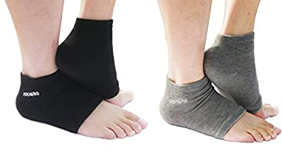 AYAOQIANG Moisturizing Open Toe Silicone Gel Heel Socks,Spa Socks for Dry Hard Cracked Skin -2 Pair (Black and Grey)