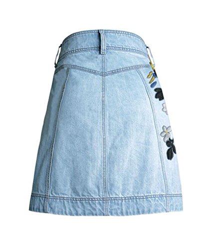 Baymate Femme Vintage Mini Jeans Jupes A-ligne Unique Breasted Bouton Mini Jupe Bleu Clair
