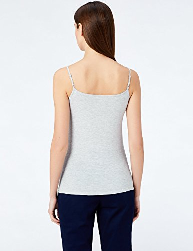 MERAKI Top Damen mit V-Ausschnitt, 2er Pack Grau (Light Grey Marl/White)