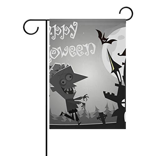 Gartenflagge Halloween Zombie Castle Fledermaus 30,5 x 45,7 cm Banner doppelseitig für Rasen Hof Outdoor Dekoration, Polyester, Image 269, 28x40(in) (Zombie Halloween-rasen Dekorationen)