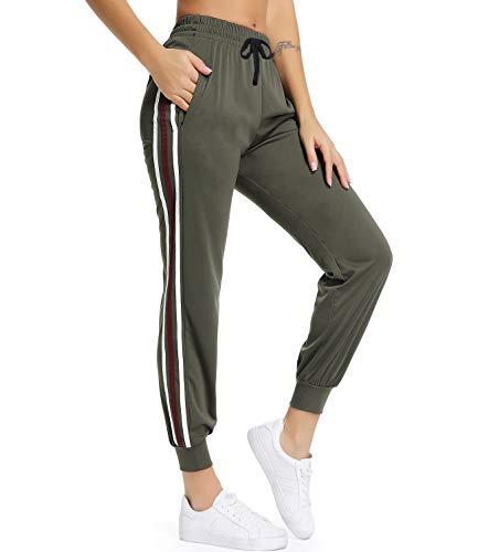 FITTOO Damen 2 Gestreift Streifen Freizeithose Jogginghose Hose Sportswear Style,Grün,L