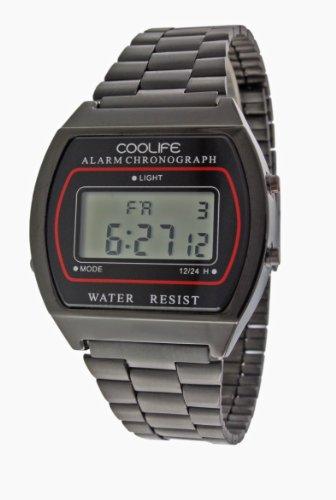 Reloj de Cuarzo digital Unisex metal Negro - CL2013G934 Coolife - Tecnología única - Iluminación de fondo - Estilo retro, Estético, Deportivo con Calendario automático y Cronómetro