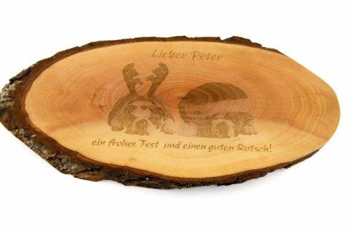 Brotzeitbrett oder Wandschmuck: Rindenscheibe roh, 27-31 cm mit Gravur Ihres Fotos und Wunschtext 12