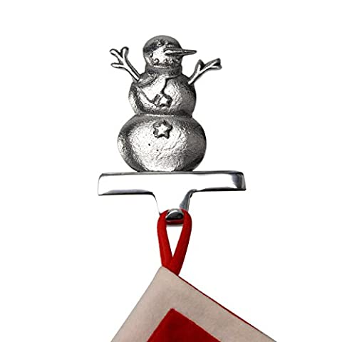 Snowman Stocking Hanger in Silver