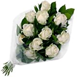 Floral Fantasy Fresh Flowers Bouquet of 15 White Roses Bunch