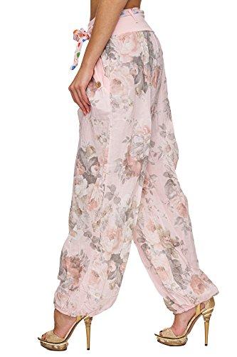 Zarlena Damen Pumphose Stoffhose Caprihose Pluderhose Aladinhose Haremshose Sommerhose Floral Blumen Muster Rosa