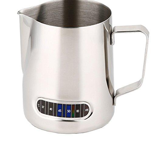Velidy lattiera, 600 ml/20oz acciaio inossidabile bricco per latte con termometro integrato di controllo temperatura, latte schiumatore brocca per caffè, cappuccino, caffè espresso, latte art