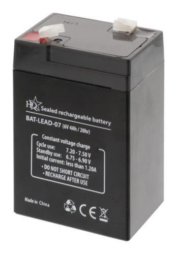 Batterie au plomb 6V-4A dimension 70x47x102mm