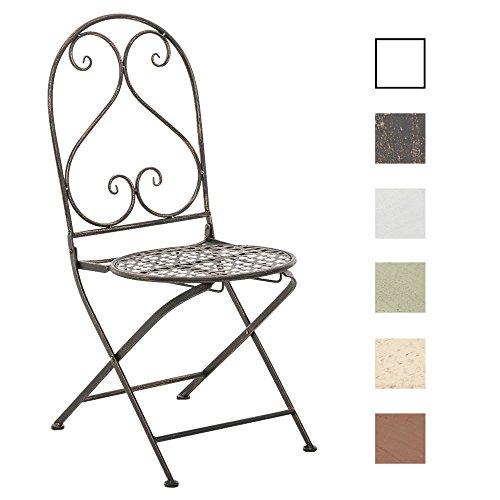 CLP Chaise de Jardin VAHAN Pliable en Fer Forgé | Design Nostalgique et Charmant Idéale pour le Balcon ou le Bistro | Chaise de Terrasse à 4 Pieds Résistante aux Intempéries en Différentes Couleurs bronze