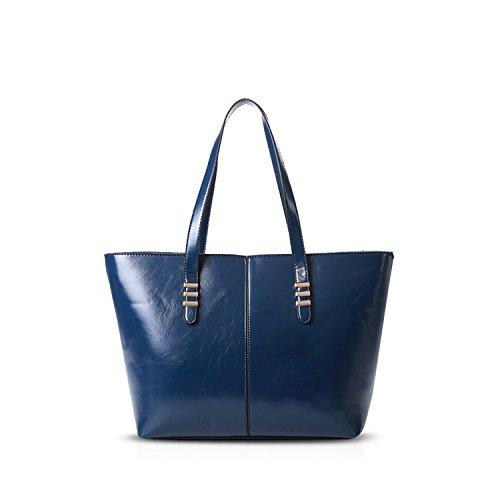 NICOLE&DORIS Mode Elegante Donna Borse a Mano Tote Borse a Spalla Borse a Tracolla Borsetta Borsa Sac à Bandoulière Sacchetto Grande PU Blu Blu