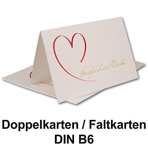 10 Sets // Dankeskarten DIN B6 Faltkarten creme gehämmert mit farbigem Text