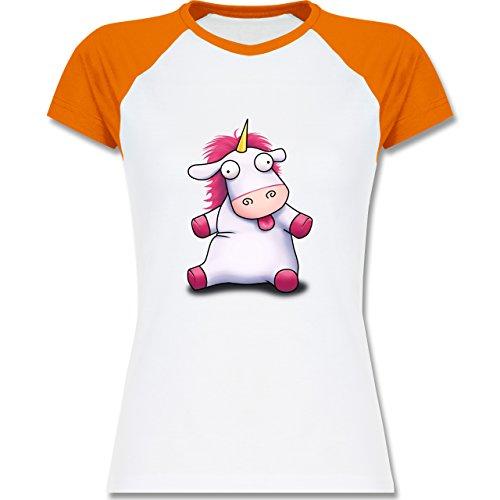 Comic Shirts - Süßes, flauschiges Einhorn - zweifarbiges Baseballshirt / Raglan T-Shirt für Damen Weiß/Orange