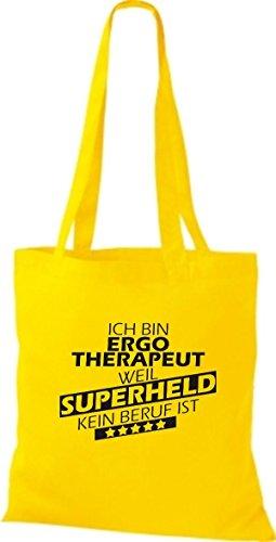 Ich Stoffbeutel Shirtstown weil bin Beruf kein Superheld ist goldgelb Ergotherapeut H6Uqf
