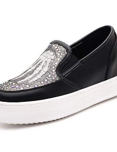 ZQ gyht Scarpe Donna-Mocassini-Ufficio e lavoro / Formale / Casual-Comoda-Piatto-Sintetico-Nero / Bianco , white-us6 / eu36 / uk4 / cn36 , white-us6 / eu36 / uk4 / cn36 black-us8 / eu39 / uk6 / cn39