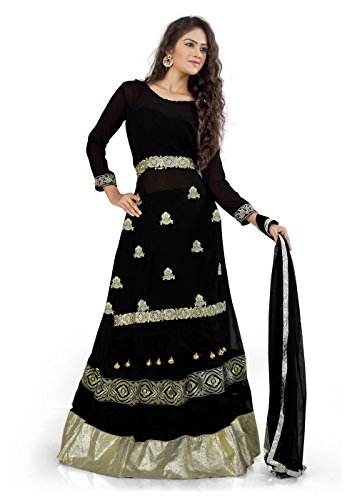 BikAw Embroidered Black Net Fashion Lehenga Suit Party Wear Semi-Stitched Suit. -...