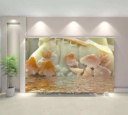 Aufkleber Kunstwerk Werkzeuge Die Beste Dreidimensionale Jade Carving Lotus 3D Tv Hintergrund Wand Dekorative Malerei- (150 cm X 105 cm)