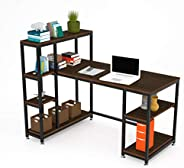 Computer Desk with Storage Shelves and Bookshelf 120cm Home Office Computer Desk Workstation Large Compact Stu