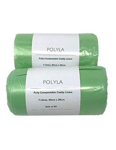 POLYLA Bolsas de basura convertibles en abono para cubos de basura orgánica, 100 Bags, 7 Litres