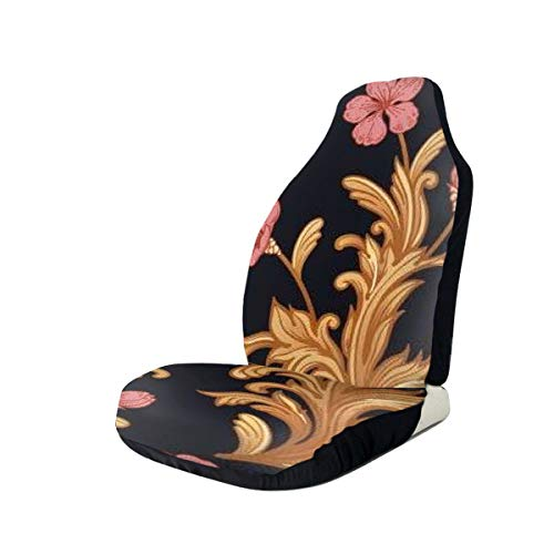 RuiShuoPiCao Car Seat Covers Baroque Flowers Golden Curls On Black Vintage Elasticity Single Heavy Duty Protector Front Seats -