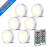 Schrankleuchten LED Nachtlicht mit Fernbedienung SOLMORE 6er Licht Dimmbar Batteriebetrieben Kabinett Beleuchtung Led Unterbauleuchten für Schlafzimmer, Kleiderschrank, Kabinett, Küche Energieeffizient 4000K Warmweiß