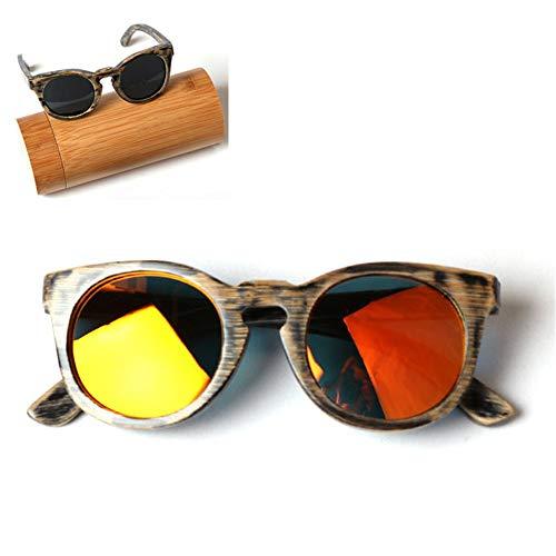 CWYPB Kinder Polarisierte Sonnenbrillen, DIY Bamboo-Sunshade Gläser Wooden Frame Glasbrillen UV400 mit Geschenkbox für Jungen Mädchen und Kinder,A