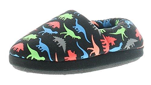 Dinosaur Hunter Rex Boys Full Slippers Black - Black - UK Size 12