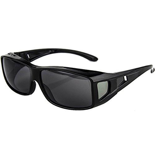 Preisvergleich Produktbild Mit Seitenscheibe treibende Linse Wrap Schutzglas Polarisiert Brille Überbrille für Brillenträger Fit-over rechteckige Passform über Gläser Sonnenbrille