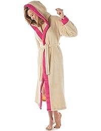 Bademantel mit Kapuze Damen oder Herren, totall kuschelig weicher Sherpa Fleece Qualität, waden langer Saunamantel, der Sauna - Mantel wunderschön abgesetzt in zwei Farben, CelinaTex Ohio