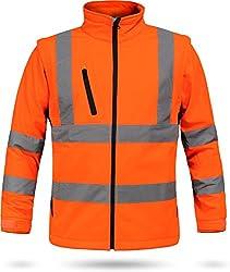 normani Softshell Warnschutzjacke nach EN 471 in Warnorange/Marine oder Neongelb/Marine Farbe Warnorange/Marine Größe XL