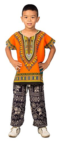 Lofbaz Niños Tradicional de impresión de África Camisa Dashiki Naranja Unisex - 10-11 años
