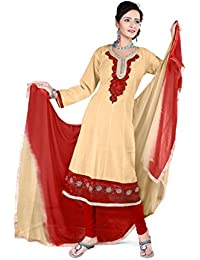 Jheenu Women's Chiku Cotton anarkali Embroidered Unstitched Dress Material