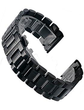 Yisuya Massive Herren Armbanduhr, Edelstahl, Band 2,8cm breit, Faltschließe, Schwarz