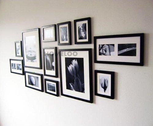 Cadre Mural Moderne Noir De Photos : Lot de cadres à photos muraux modernes en bois noir amp blanc